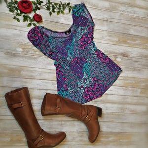 Ab studio spandex purple floral peacock blouse xl